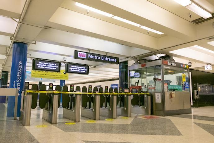 Image of closed Muni Metro turnstiles