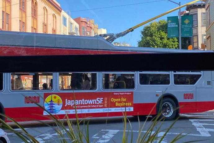 Bus with ad promoting Japantown