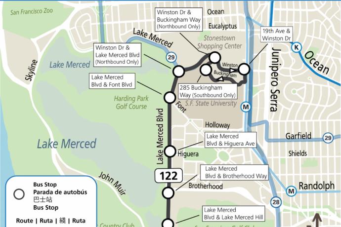 Map of new SamTrans stops in the Lake Merced neighborhood