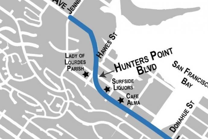 Map highlighting Evans Avenue, Hunters Point Boulevard and Innes Avenue in the Bayview