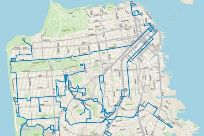 Map showing In August 2021, 98% of residents and 100% of equity neighborhoods could be within a ¼ mile of a Muni stop