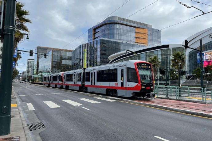 Muni Metro traveling on 3rd Street