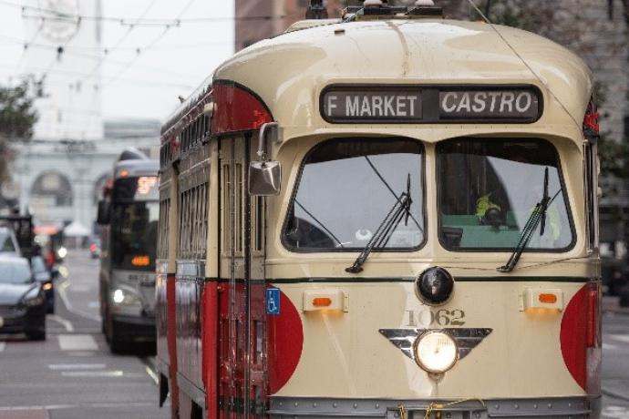 Photo: F Market & Wharves historic streetcar making its way up Market Street from the Ferry Building to Castro.
