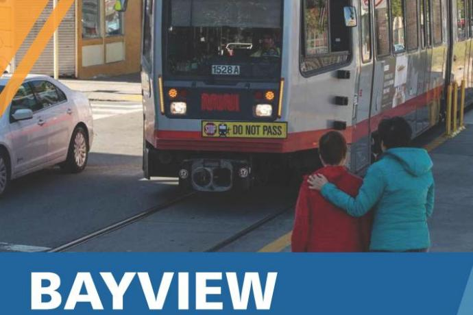 Cover image of report showing photo of T Third train with report title Bayview Community-Based Transportation Plan