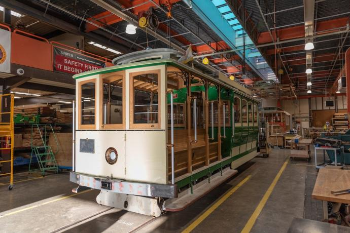 Restored Cable Car 8 being readied for return to service