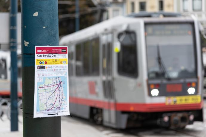 Photo of N Judah with temporary signage showing stop changes