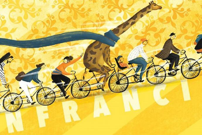Image of Muni Art with people and a giraffe on bicyles