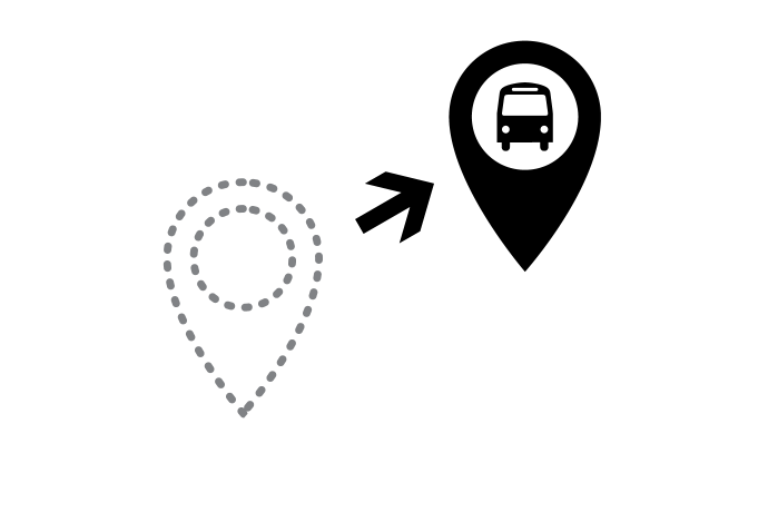Graphic indicating stop relocation