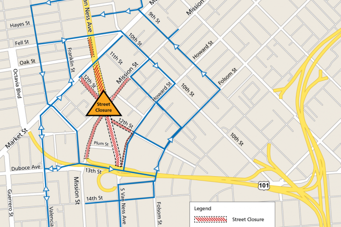 Map of Van Ness Avenue and Mission Street intersection showing detours and street closures