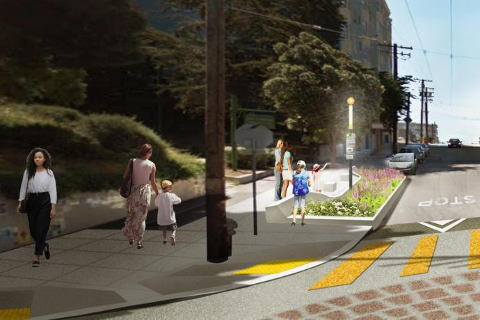 Rendering of the forthcoming raised (traffic-calmed) intersection at Page Street & Buchanan Street
