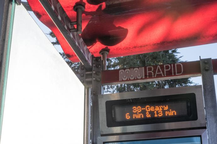 NextMuni display showing 38 Geary arrivals