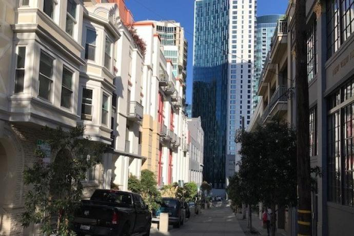 Streetscape with high-rise buildings