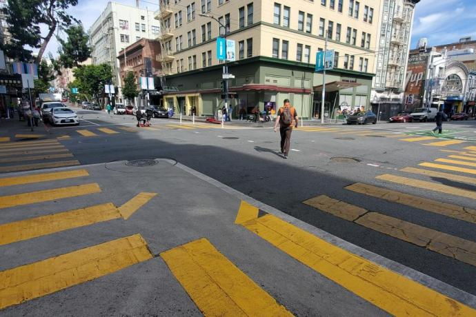 Pedestrian scramble on Jones Street at Turk Street