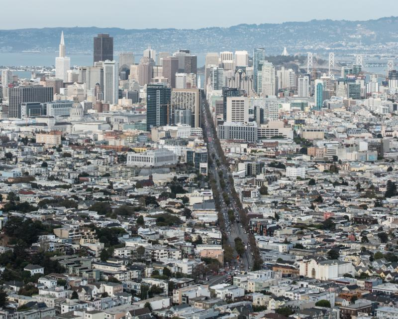 View of downtown San Francisco from Twin Peaks.