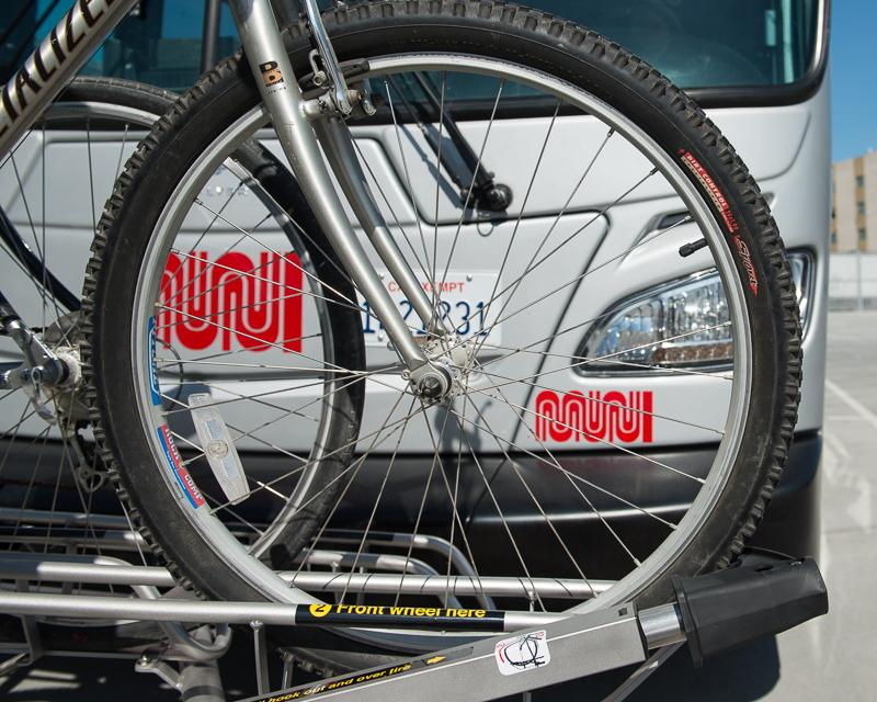detail view of bike on front of muni bus
