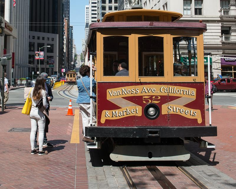 Cable Car at end of California Street line with passengers