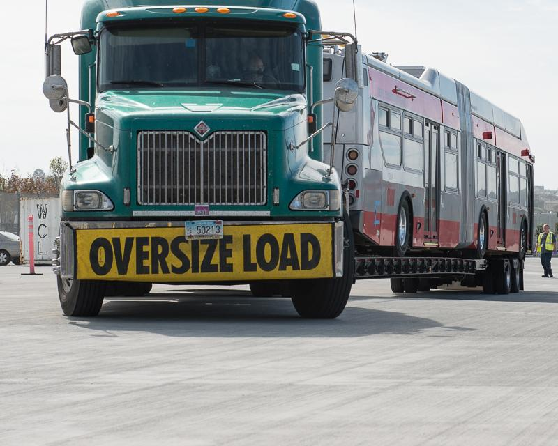 Large truck with oversize load