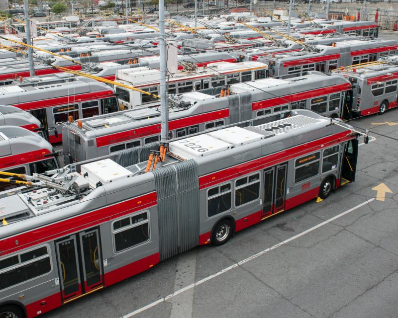 Overhead view of electric trolley buses lined up in yard at Potrero Division.