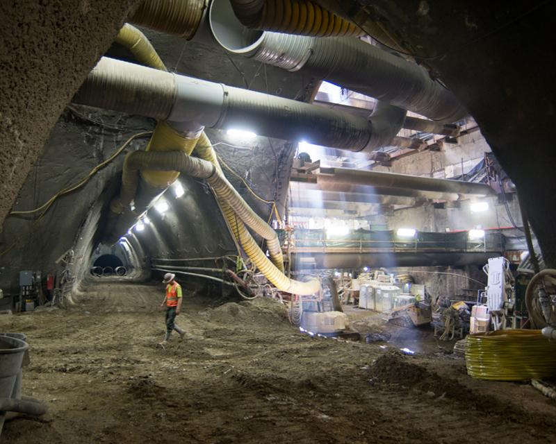 Underground photo showing tunnel construction for Central Subway project