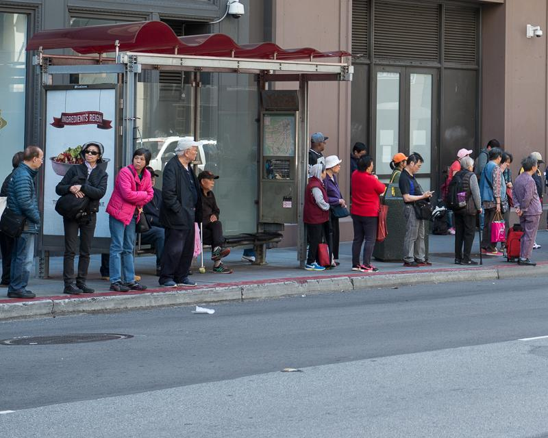 large group of people waiting for bus at bus stop