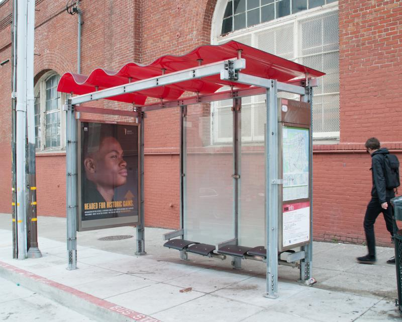 Bus shelter with red wave roof