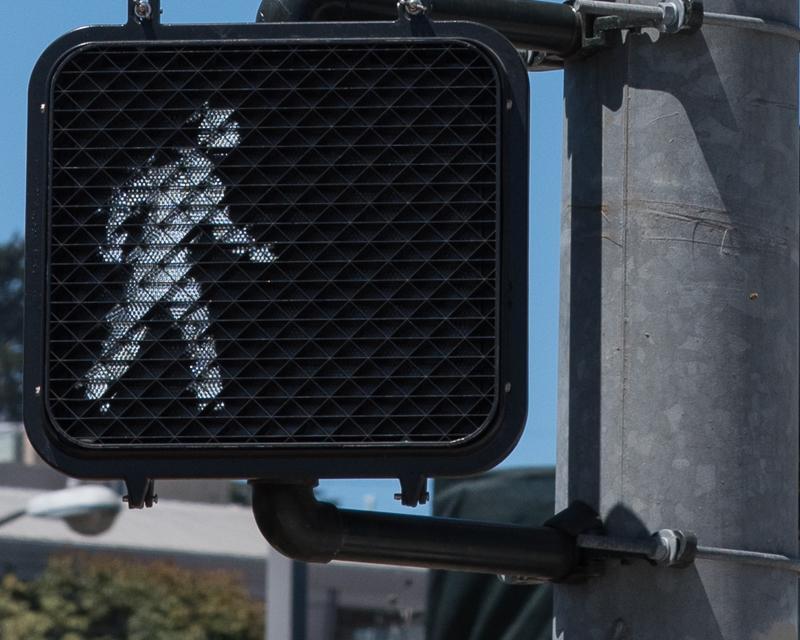 Closeup view of a crosswalk signal