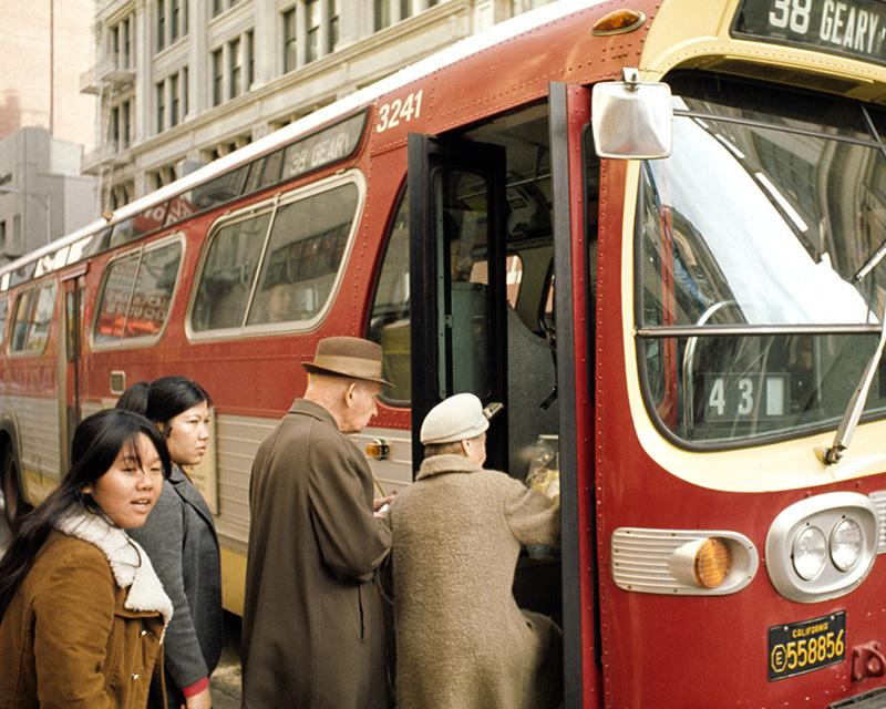 Passengers board the 38 Geary in the late 1970s