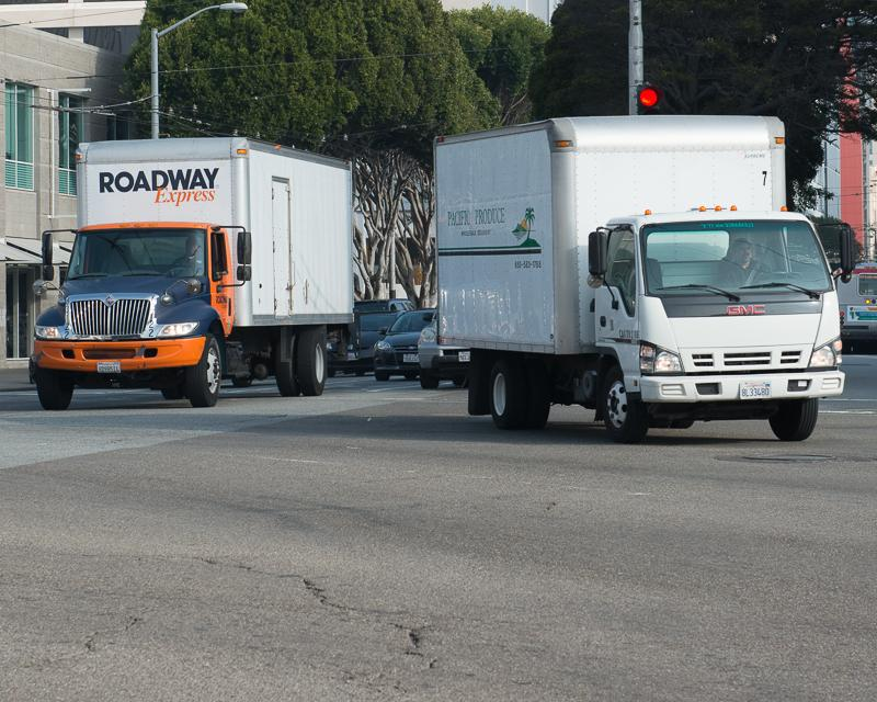 Commercial vehicles on streets of San Francisco