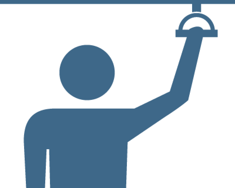 icon of person riding Muni while holding on to a strap for balance