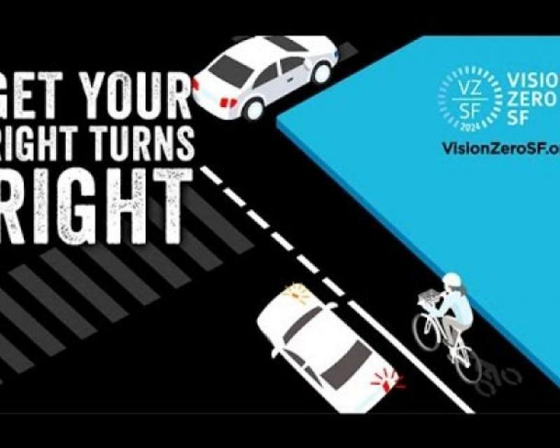 Graphic of vehicles turning right and bike lane with text Get Your Right Turns Right
