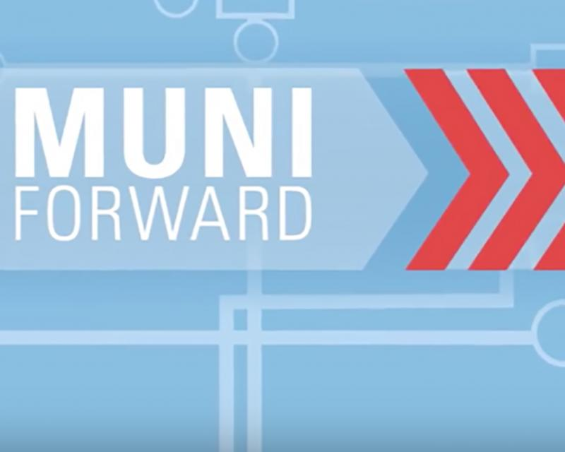 "Blue, white, and red graphic showing ""Muni Forward"" words and chevrons."
