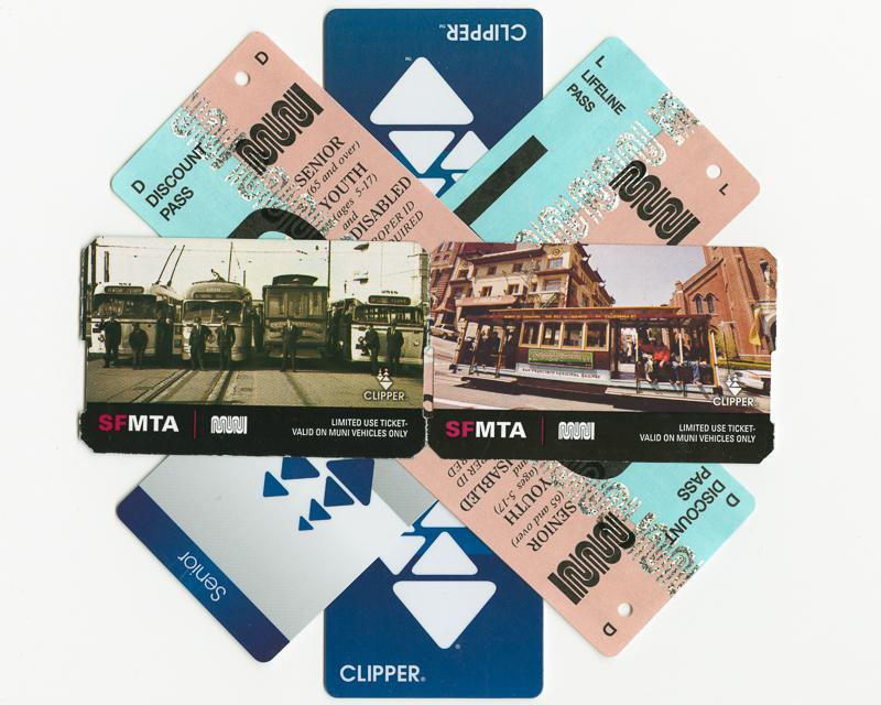 stack of Muni passes and clipper cards