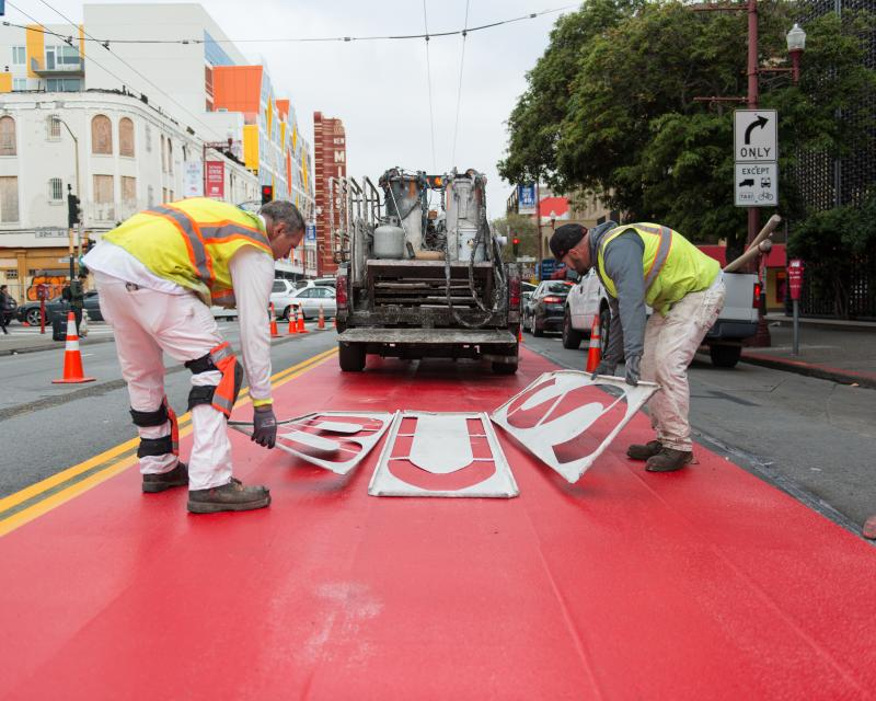painting bus-only lanes