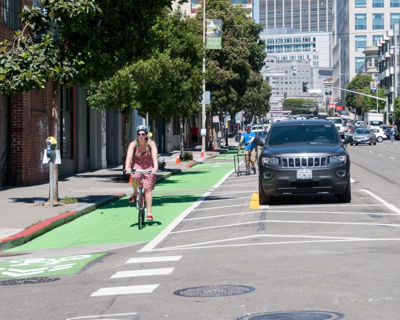 parking-protected bicycle lane