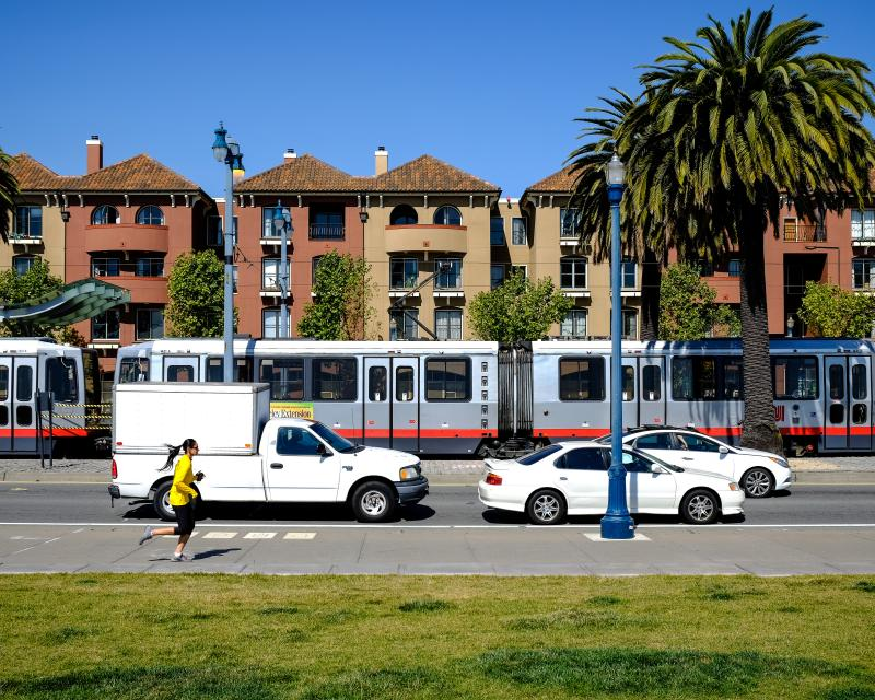 residential buildings adjacent to transit service on Embarcadero