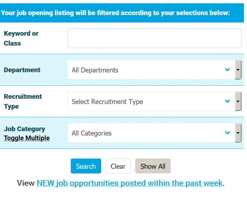 Image of sample search form on the Job Opportunities page