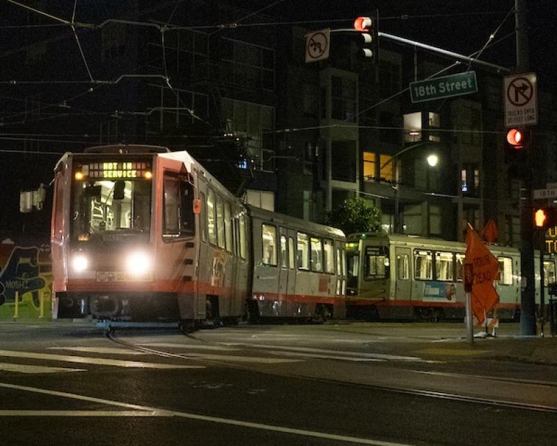 T Third Line train using the Mission Bay Loop