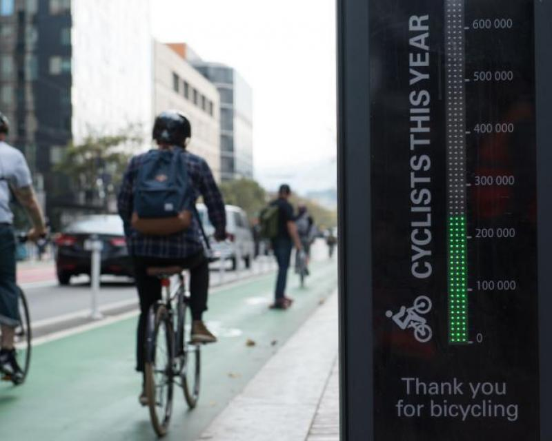 Bicyclist and Market Street Bike Counter Totem