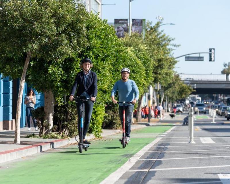 Scooters on bike lane