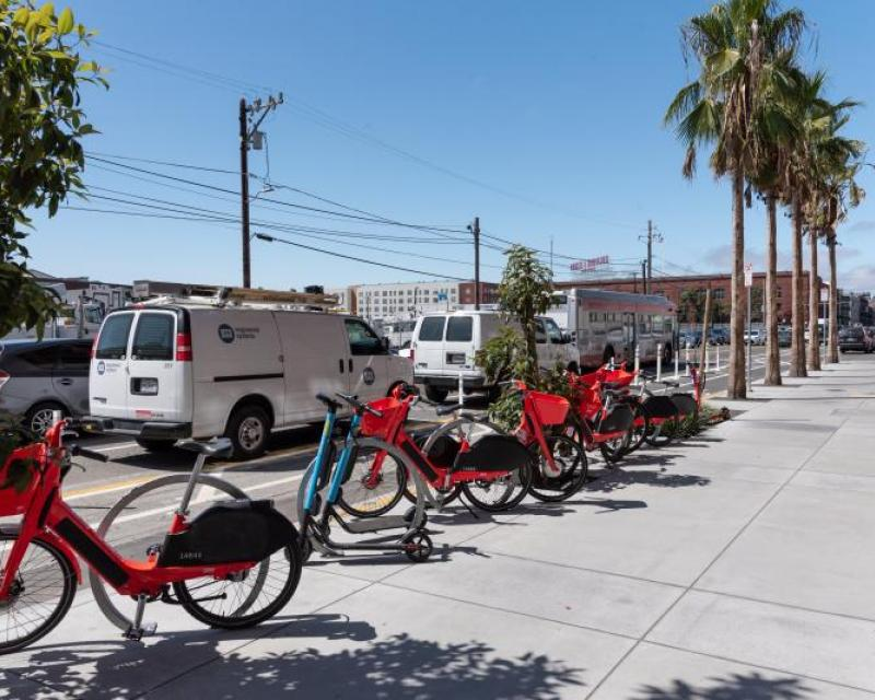 Bike and scooter parking on ramp