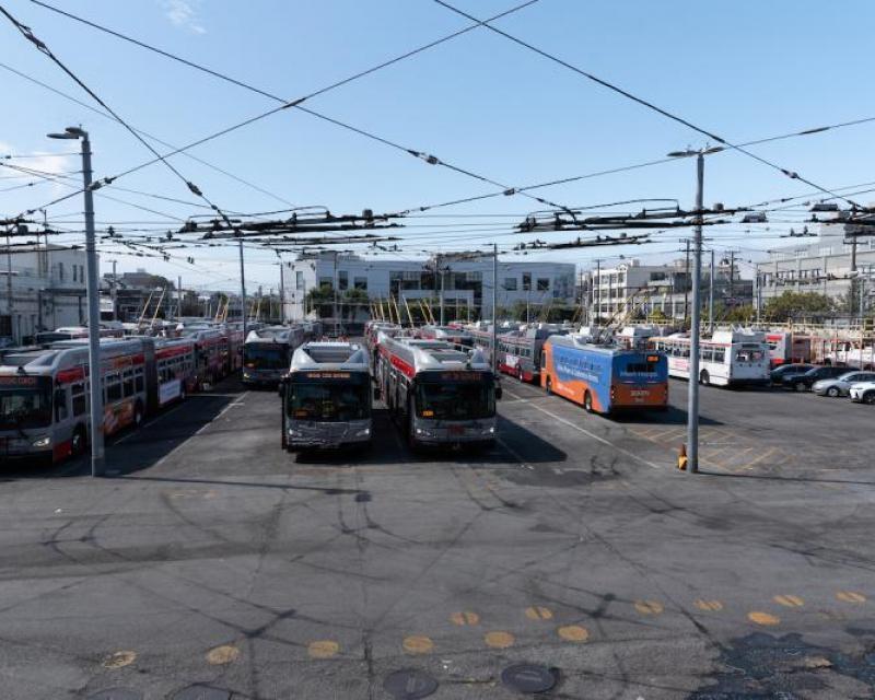 Panoramic View of Main Bus Yard at Potrero Bus Yard