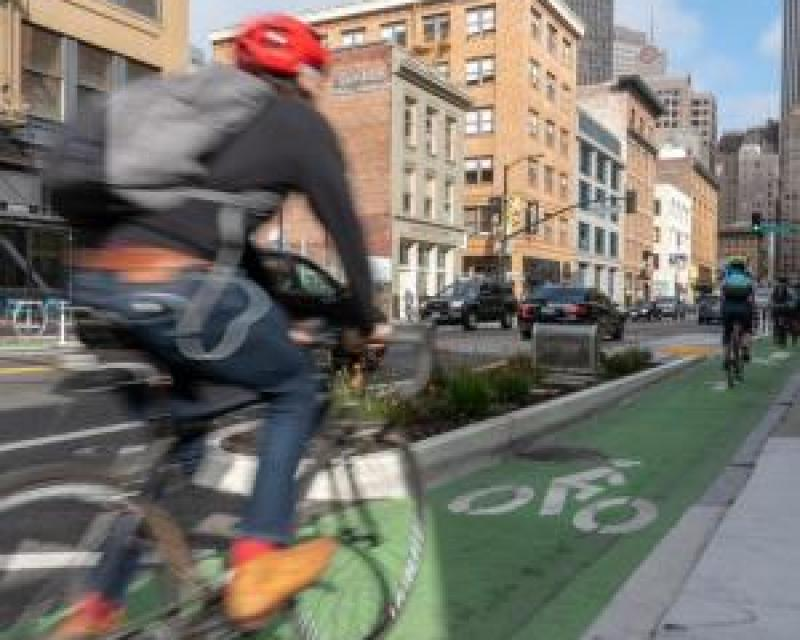 Bicyclist using the green bike lane