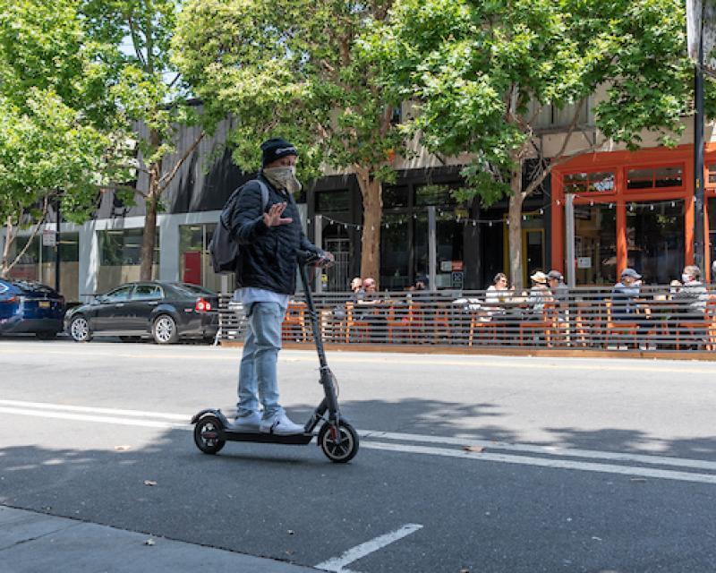 Scooter rider on street
