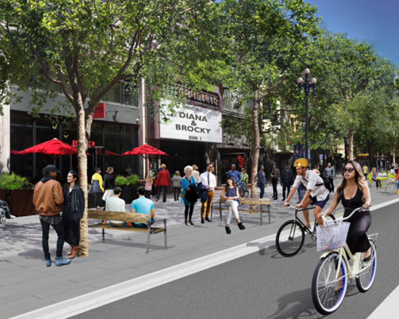 Rendering including Better Market Street's sidewalk level bike lane, new trees and improved streetscape elements.