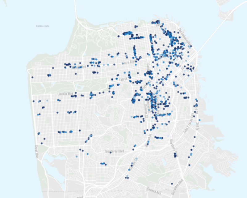 Shared Spaces map by SF Planning Department