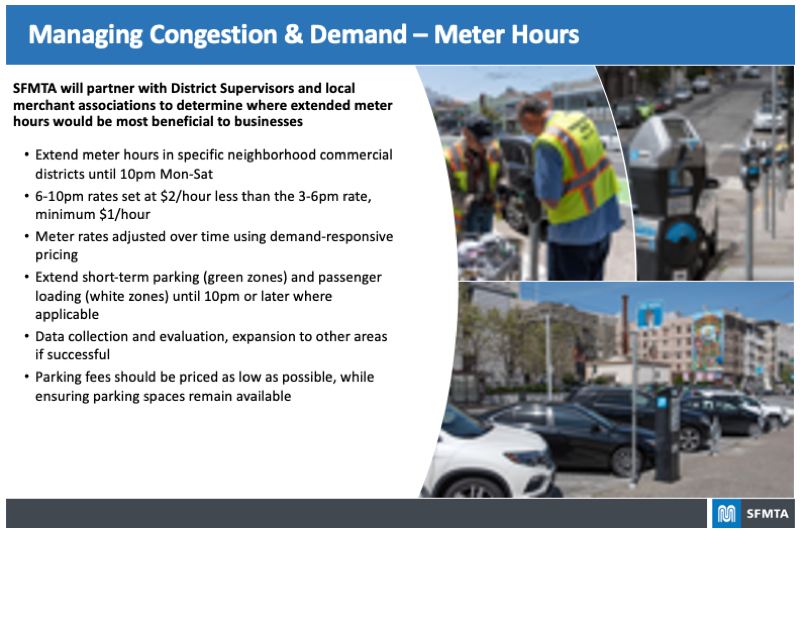 Board highlighting proposed plans for Managing Congestion & Demand – Meter Hours