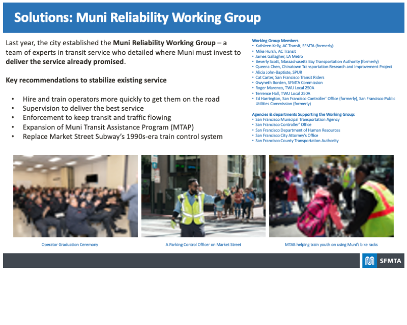 Board highlighting the Solutions recommended by the Muni Reliability Working Group