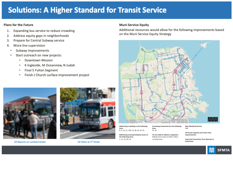 Board highlighting the Solutions proposed for A Higher Standard for Transit Service