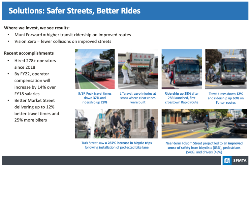 Board highlighting the Solutions called for with Safer Streets and Better Rides