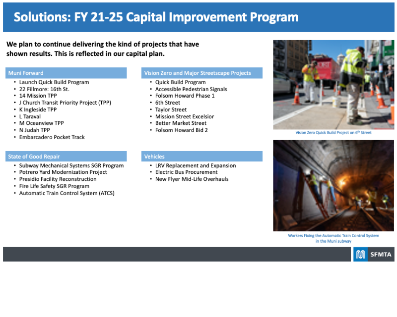 Board highlighting the necessary Solutions spelled out in the FY 21-25 Capital Improvement Program